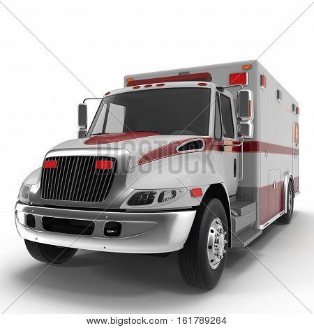 Emergency ambulance car isolated on white Background. 3D Illustration