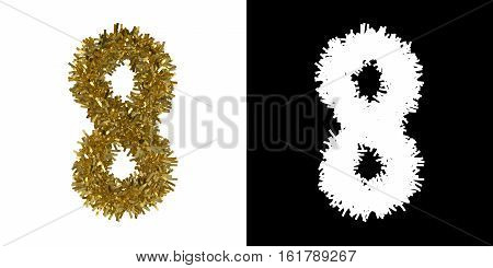 Number Eight Christmas Tinsel With Alpha Mask Channel For Clipping - 3D Illustration