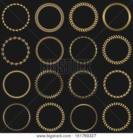 Golden round laurel wreaths. Success symbol, winner triumph sign