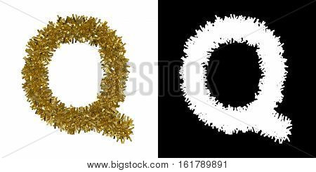 Letter Q Christmas Tinsel With Alpha Mask Channel For Clipping - 3D Illustration