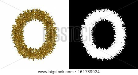 Letter O Christmas Tinsel With Alpha Mask Channel For Clipping - 3D Illustration