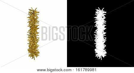 Letter I Christmas Tinsel With Alpha Mask Channel For Clipping - 3D Illustration