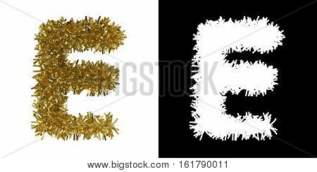 Letter E Christmas Tinsel With Alpha Mask Channel For Clipping - 3D Illustration