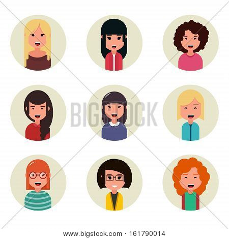 People avatars collection. Business characters businesswoman. Geometric people. Modern cartoon flat design. Vector illustration. EPS10