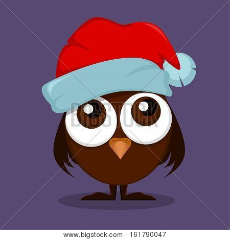 Owlet in Christmas hat with big eyes wishes Merry Christmas and Happy New Year. Cute and funny cartoon character. Vector illustration