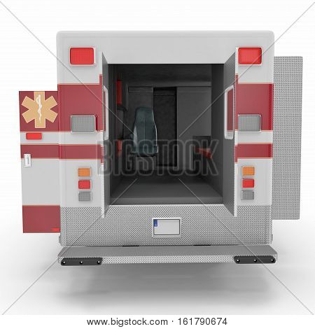 Emergency ambulance car with opened dors isolated on white Background. Rear view. 3D Illustration