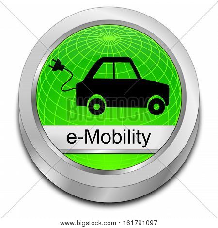 decorative green e-Mobility Button - 3D illustration