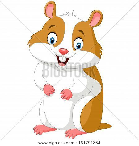 Vector illustration of Cute hamster isolated on white background