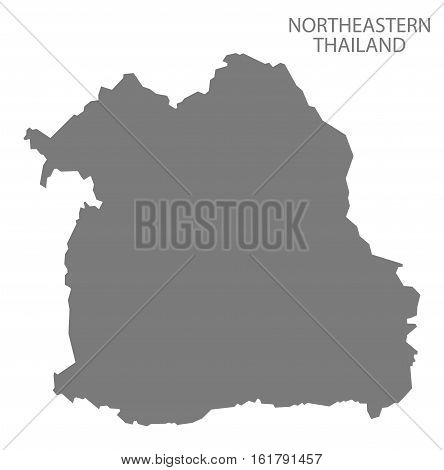 Northeastern Thailand Map grey country silhouette illustration