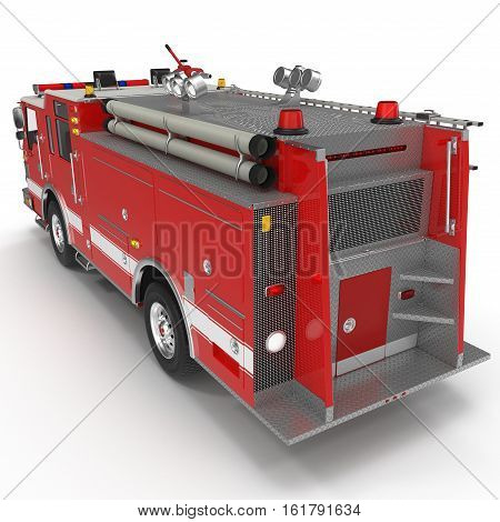 Rear view Fire Engine isolated on white background. 3D illustration