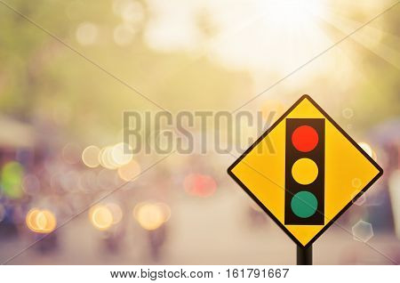 Traffic Sign,traffic Light Sign On Blur Traffic Road Abstract Background.