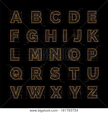 Golden font on black vector illustration. Drafting paper ABC design