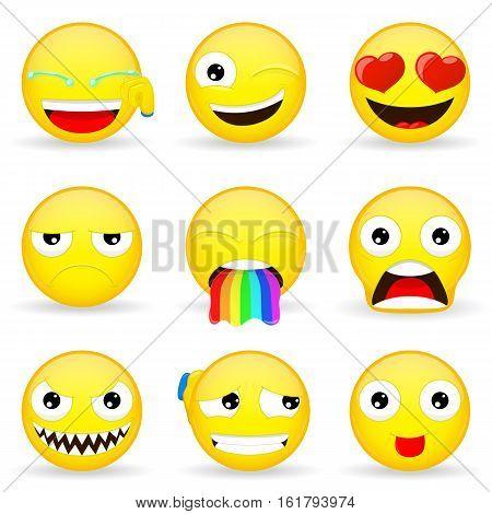 Emoji set. Emoticon set. Cartoon style. Vector illustration.