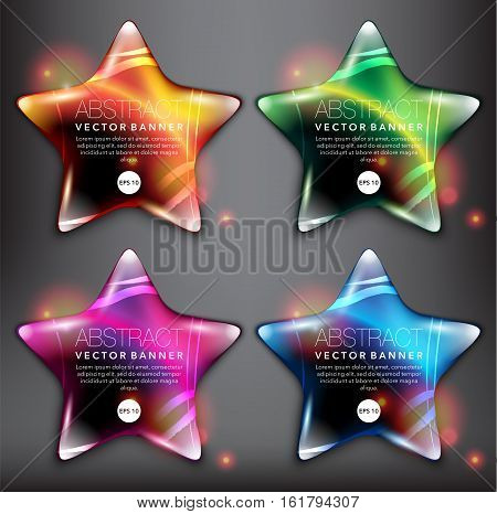 Abstract vector banner set of 4. Pebble stones in shape of stars. Colorful with realistic light and shadow on the black panel. Vector illustration. Each item contains space for own text. Eps10.