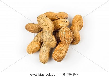 Unsalted Peanuts In Shell Isolated On White Background