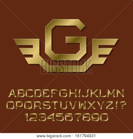 Golden angular letters and numbers with initial monogram with wings. Beautiful presentable font kit for logo design.