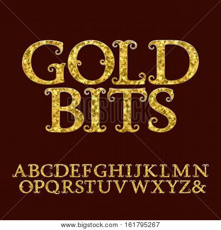 Golden capital letters incrusted small glittering fragments. Vintage curly font. Isolated english alphabet with text Gold Bits.