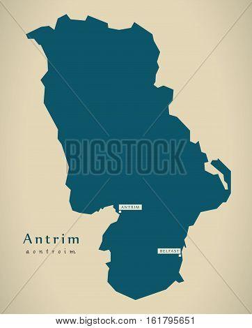 Modern Map - Antrim Uk Northern Ireland Illustration