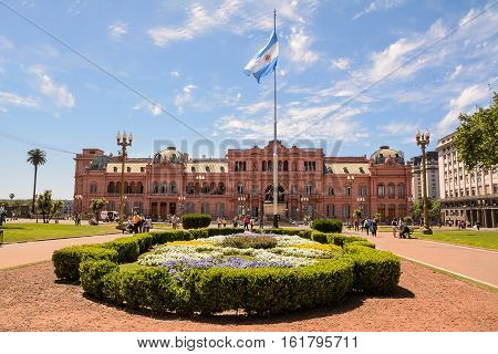 Buenos Aires Argentina - October 30 2016: Casa Rosada in Plaza de Mayo in Buenos aires with tourist in a sunny day.
