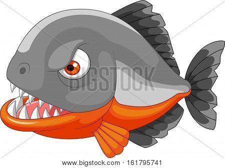 Vector illustration of Piranha cartoon isolated on white background