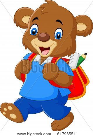 Vector illustration of Cute bear with backpack
