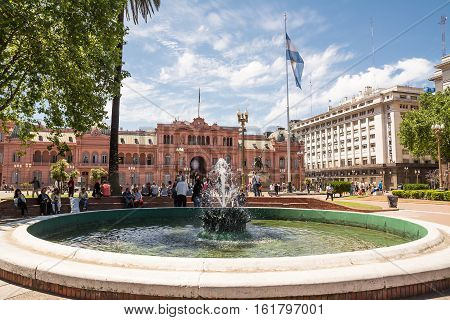 Buenos Aires Argentina - Otober 30 2016: Casa Rosada in Plaza de Mayo in Buenos aires with tourist in a sunny day.