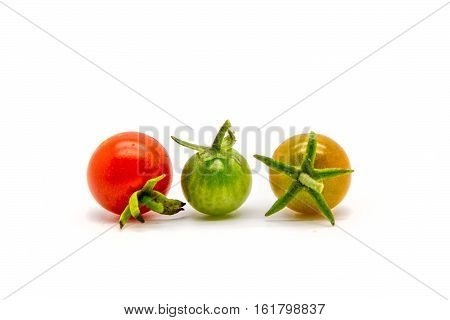 Group Of Homegrown Cherry Tomatoes  Isolated On White