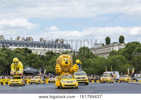 Paris France - July 24 2016: LCL Caravan during the passing of The Publicity Caravan by the Arch de Triomphe on Champs Elysees in Paris during the latest stage of Tour de France 2016.