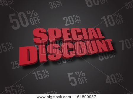 A 3D illustration of words Special Discount