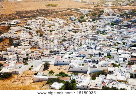 Cityscape of ancient Lindos, view from Acropolis, Rhodes, Greece