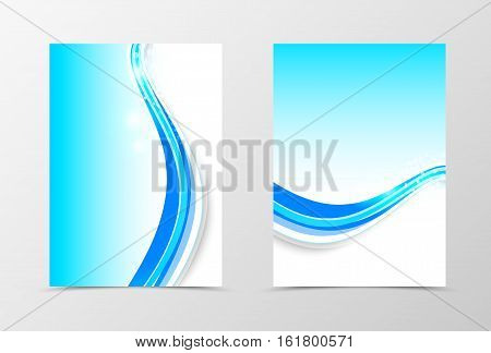 Front and back wave flyer template design. Abstract template with blue lines and halftone effect on light background in dynamic style. Vector illustration