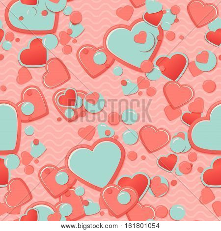 Pink Scrapbook paper, hearts with circles and waves. Valentines Day Greeting Card or postcard, scrap background.Romantic scrapbooking. Lovely cute design template for Mothers Day or scrap booking.