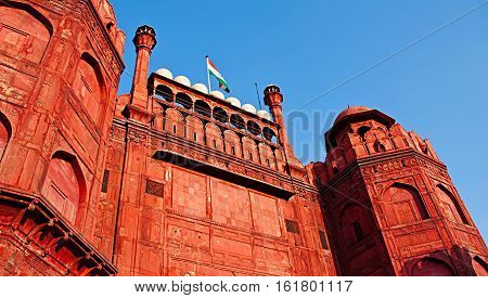 Lal Qila - Red Fort in Delhi India. Red Fort is a 17th century fort complex was designated a UNESCO World Heritage Site in 2007. It covers area of about 121.34 acres.