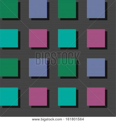 Buttons, keyboard, seamless background, colorful, pattern, vector.  Green, blue and purple buttons on gray background. Vector keyboard, seamless, infinite.