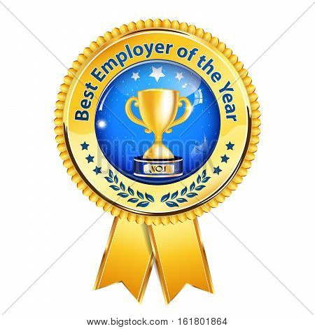 Best Employer of the Year - business award ribbon. Golden blue colors distinction with champions cup.