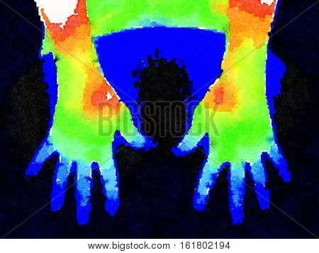 Thermographic image of back of hands showing different temperature in a range of colors from blue showing cold to red showing hot which can indicate joint inflammation.