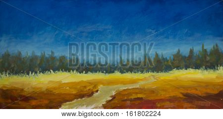 Original oil painting of road in the field leads to the forest the blue sky over a field on canvas. Modern Impressionism Art. Artwork.