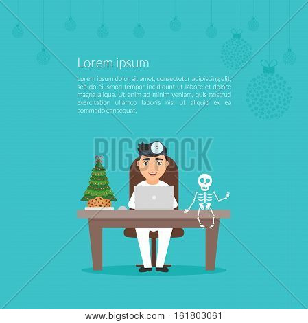 Christmas medical illustration. Cute cartoon character doctor otolaryngologist or dentist. Merry Christmas and Happy New Year decorated workplace office. Xmas tree. Flat design vector.