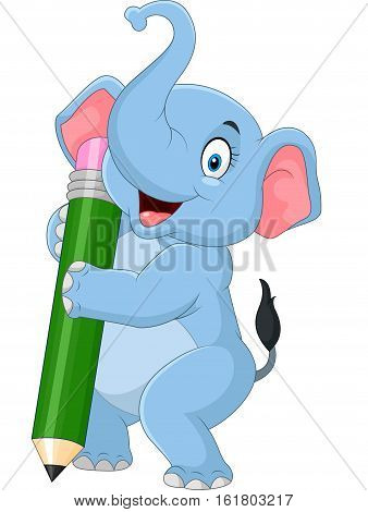 Vector illustration of Cute elephant holding pencil
