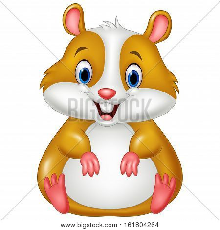 Vector illustration of Cute hamster cartoon on white background