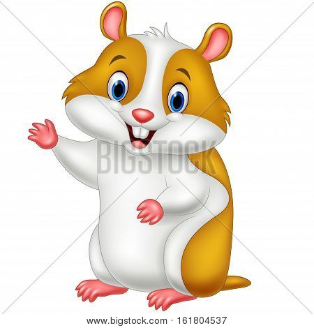 Vector illustration of Cute hamster waving hand