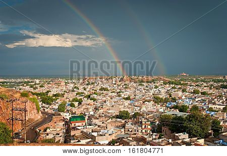 View of Jodhpur (Blue city) after rain with rainbow Rajasthan India.
