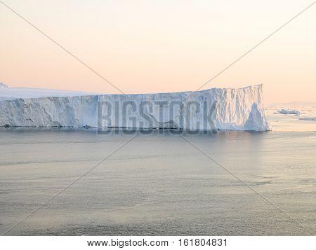 Huge icebergs on arctic ocean at north pole
