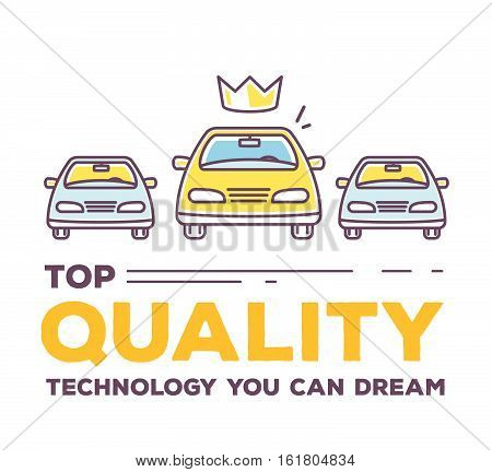 Vector Creative Illustration Of Three Cars With Header Typography On White Background.