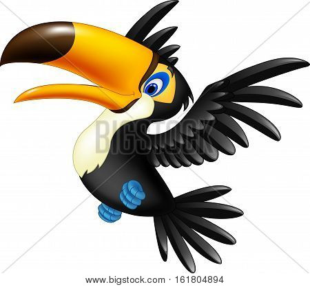 Vector illustration of Happy toucan flying on white background