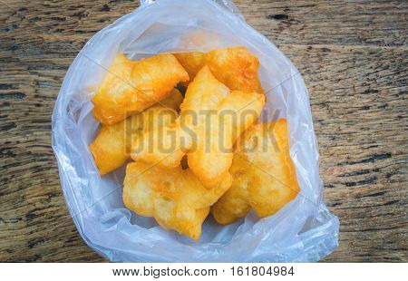 top view Chinese deep fried dough sticks in plastic bag breakfast in Thailand