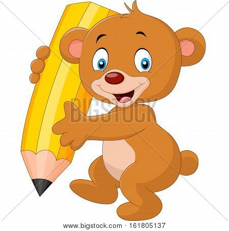 Vector illustratio of Cute bear cartoon holding pencil