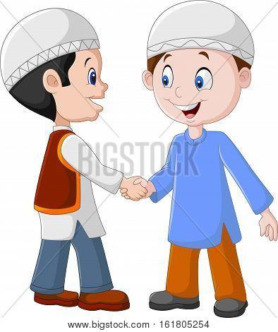 Vector illustration of Cartoon Muslim Boys Shaking Hands