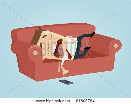 funny businessman sleeping on the sofa