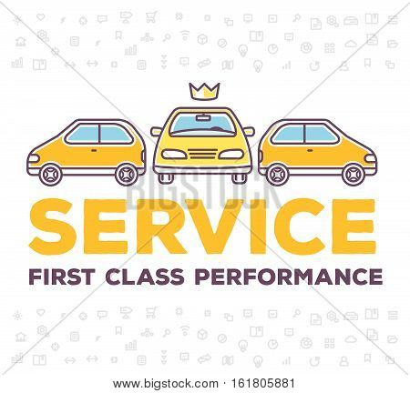 Vector Creative Illustration Of Three Cars With Pattern Of Line Icons And Header Typography On White